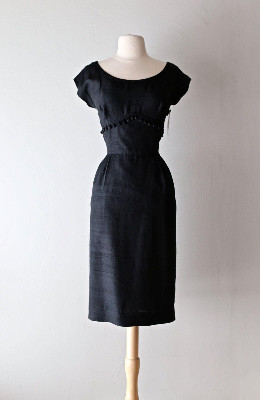 Vintage 50s Silk Cocktail Wiggle Dress