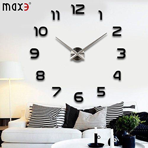 Max3 Large Size Luxury Modern 3d Frameless Large Wall Clock Style Watches Hours Diy Room Home With Images Wall Clocks Living Room Diy Clock Wall Big Wall Clocks