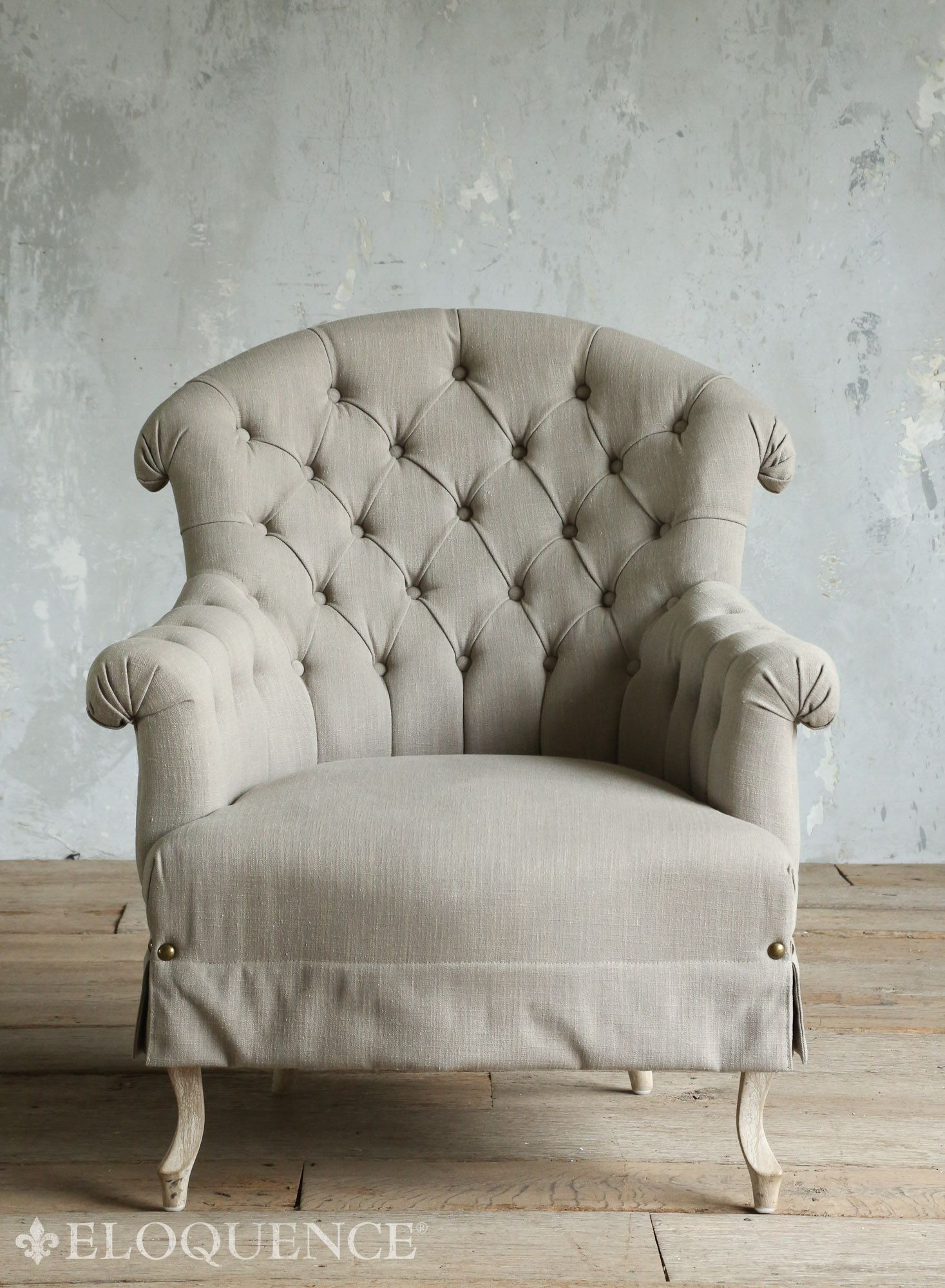 Amelie Rose French Country Tufted Curved Back Bergere Arm Chair Farmhouse Armchairs By Kathy Kuo Home