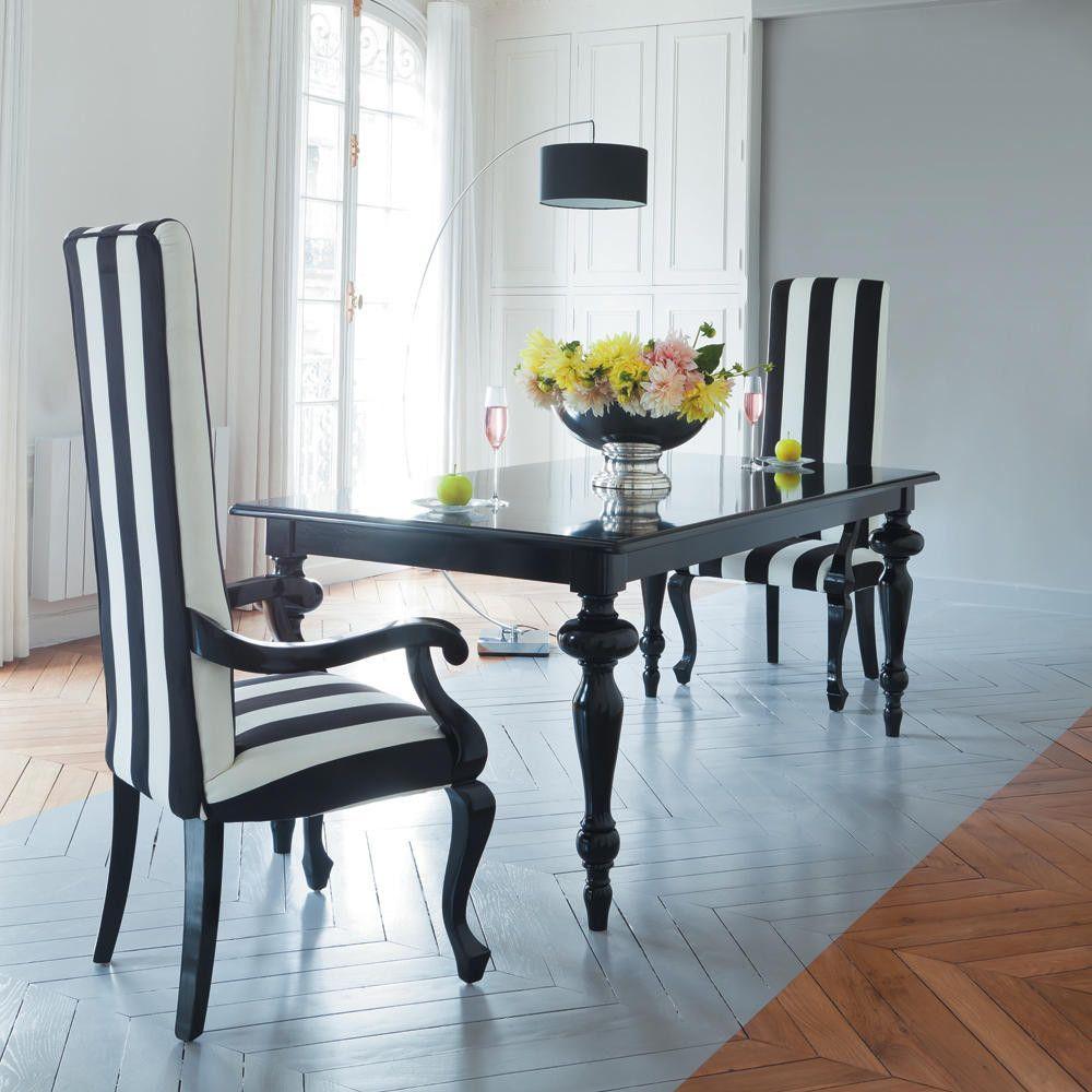 Tavolo nero per sala da pranzo in legno L 200 cm Barocco | Maisons ...