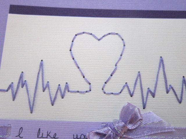 Handmade Valentine's Day Card Heart Card Sewn by ElodiesShop
