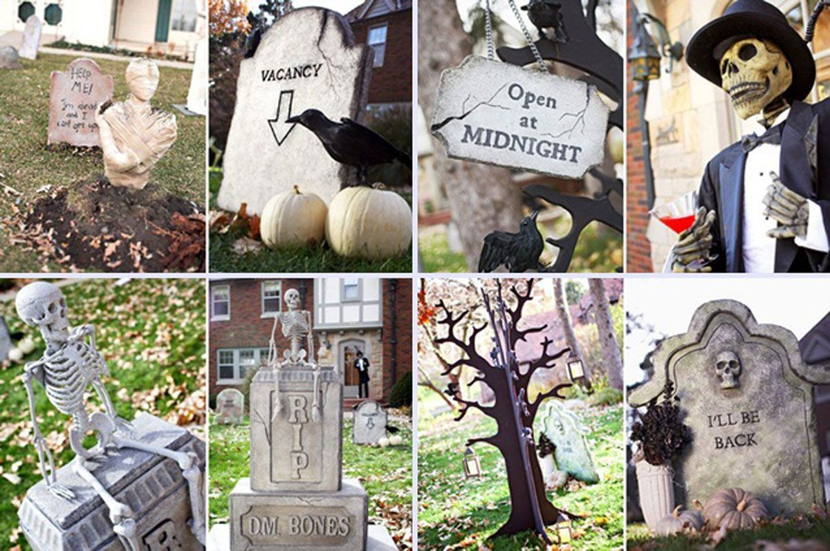 Outdoor halloween decorations scream outdoor decorations for scream skull cute outdoor halloween decorations ideas with faux black crows and spooky skull sits on the graveyard workwithnaturefo