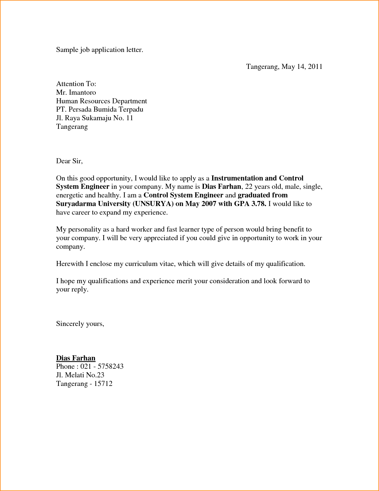letter of recommendation sample for a job