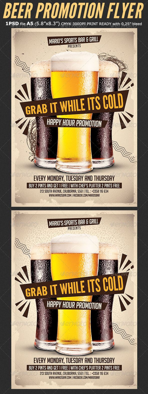 buy brochure templates - beer promotion happy hour flyer template cerveza bebida