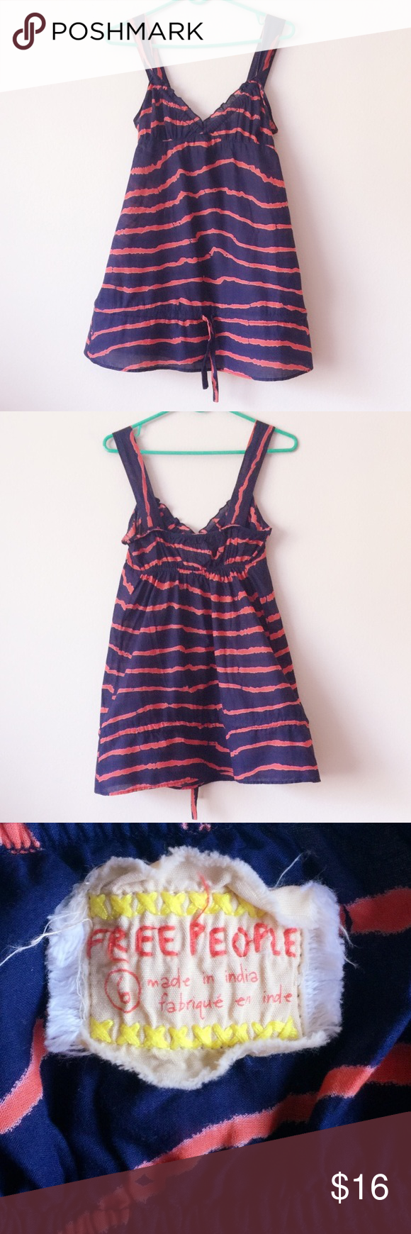 ✨FREE PEOPLE SLEEVELESS STRIPE Made in India, size 6 in great condition no rips no damage. 100% cotton Free People Tops Blouses