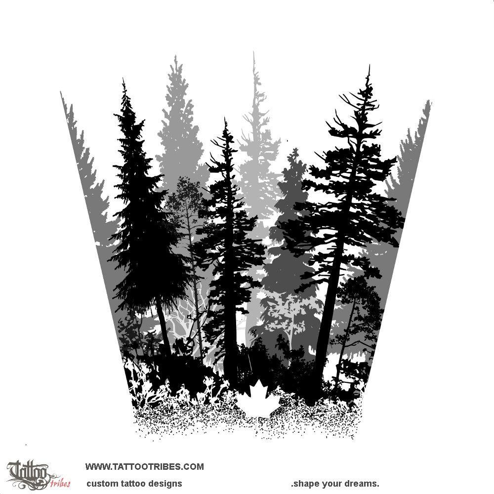 Forearm Forest Tattoo Stencil
