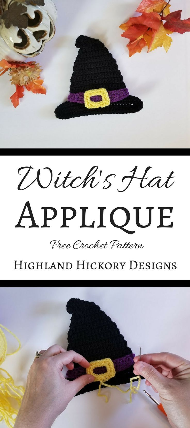 Witch\'s Hat Applique | Needlecraft | Croché, Ornamentos, Tejidos