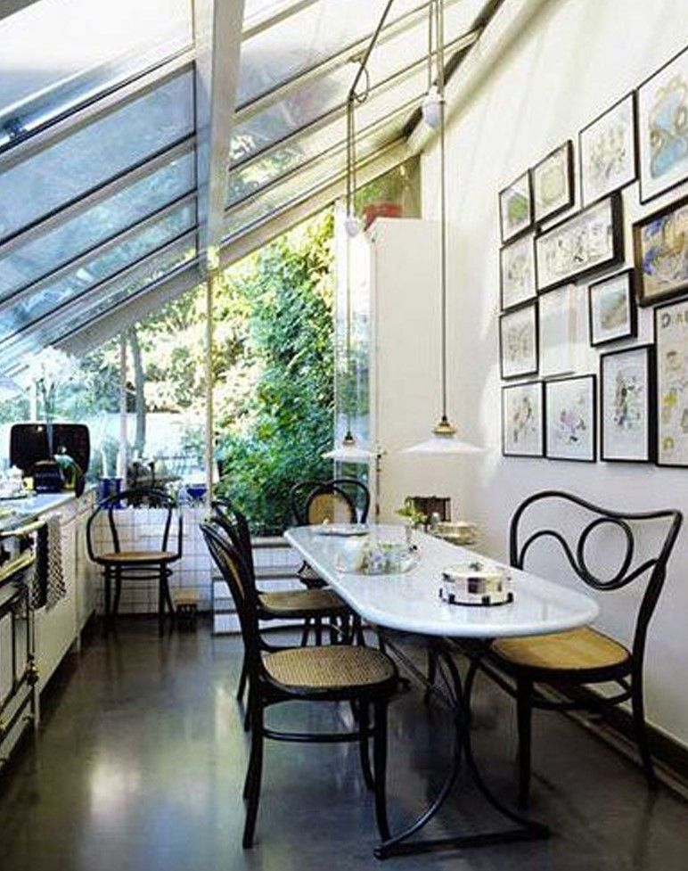 Best Sunroom Idea, Fascinating Small Sunrooms Ideas Come With Curved Black  Metal Dining Chair Including