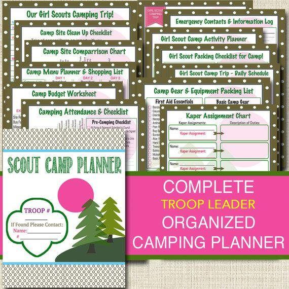 Campout Planner Pack, INSTANT DOWNLOAD Troop Leader Forms