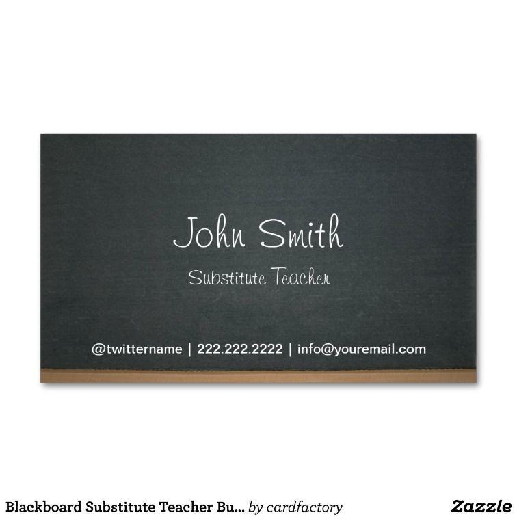 Chalkboard Substitute Teacher Simple Business Card | Substitute ...
