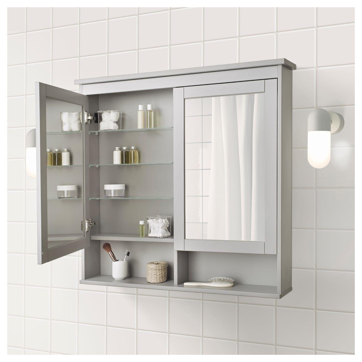 Hemnes Spiegelschrank 2 Turen Grau Spiegelschrank