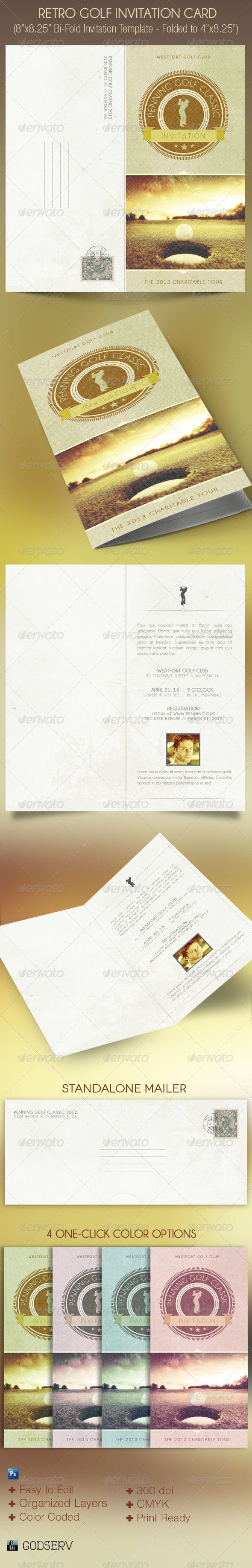 Retro Golf Invitation Card Template  Card Templates Golf And
