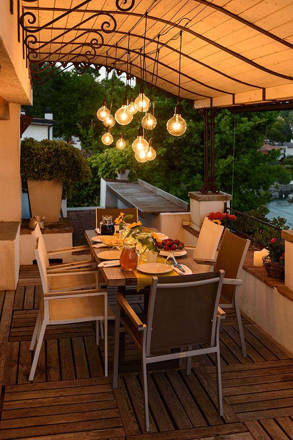 Luci decorative per il terrazzo, lampadine vintage sospese che ...