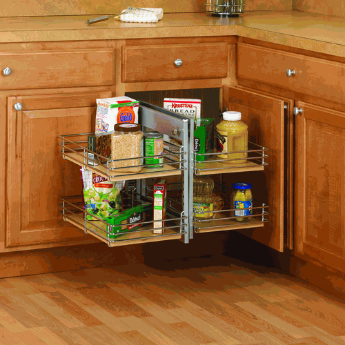 Slide out base right blind corner shelving unit kitchen for Kitchen base unit shelf