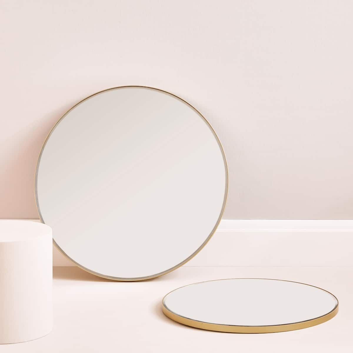 image 1 of the product large round mirror with golden. Black Bedroom Furniture Sets. Home Design Ideas