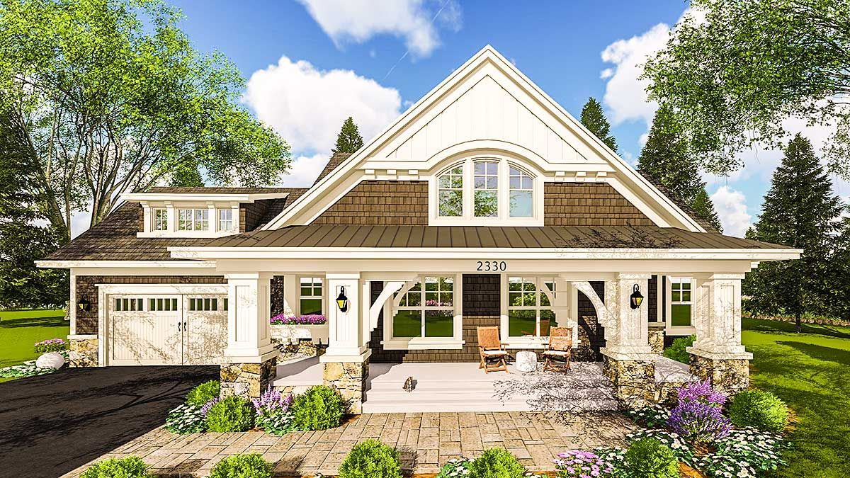Plan 14655rk Craftsman House Plan With Two Large Porches