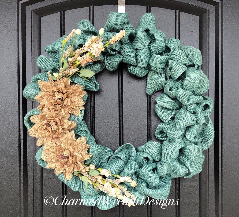 Spring Wreaths For Front Door - Summer Wreaths For Front Door - Rustic Farmhouse Front Door Wreath - Rustic Wreath - Large Modern Wreath #bestseller #handmadehousewares #handmadehedecor #etsy #housewares #homedecor #blue #beige #entryway #housewarming #bluewreath #everydaywreath #summerwreaths