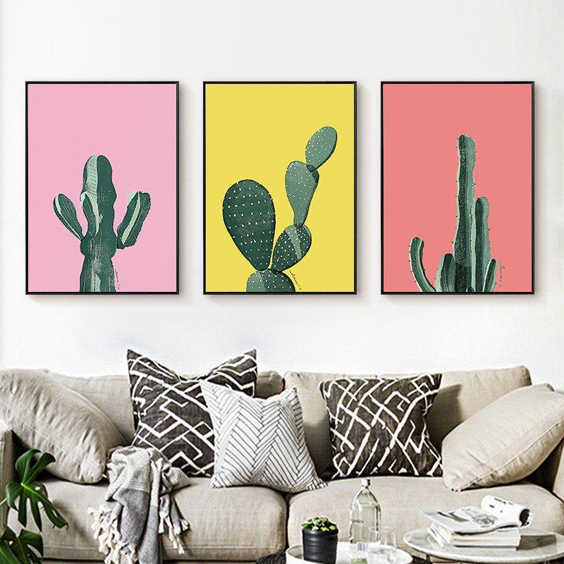 Canvas Modern Cactus Art Poster In 40 Store Decor Home Goods Simple Cute Apartment Bedroom Ideas Ideas Painting