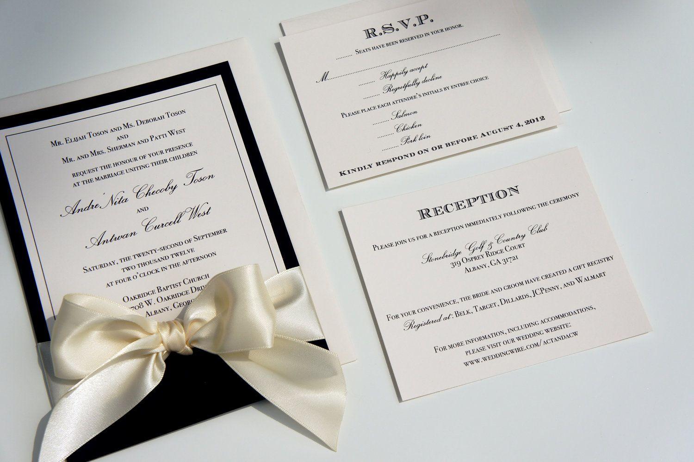Elegant Traditional Black And White Ivory Classic Ribbon And Bow Wedding Inv Ivory Wedding Invitations Wedding Invitation Inspiration Black Wedding Invitations
