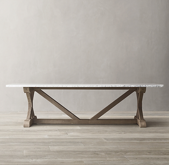 Salvaged Wood Marble X Base Rectangular Dining Table Dining Table Rectangular Dining Table Marble Top Dining Table