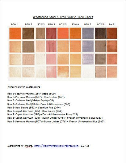 Iron And Steel Color And Tonal Chart Watercolor Lessons Paint