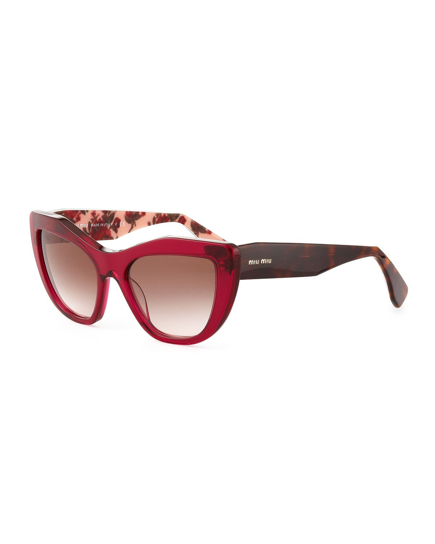 ab1a5264c34cf Designer Sunglasses for Women at Neiman Marcus. Miu Miu Angled Cat-Eye  Sunglasses