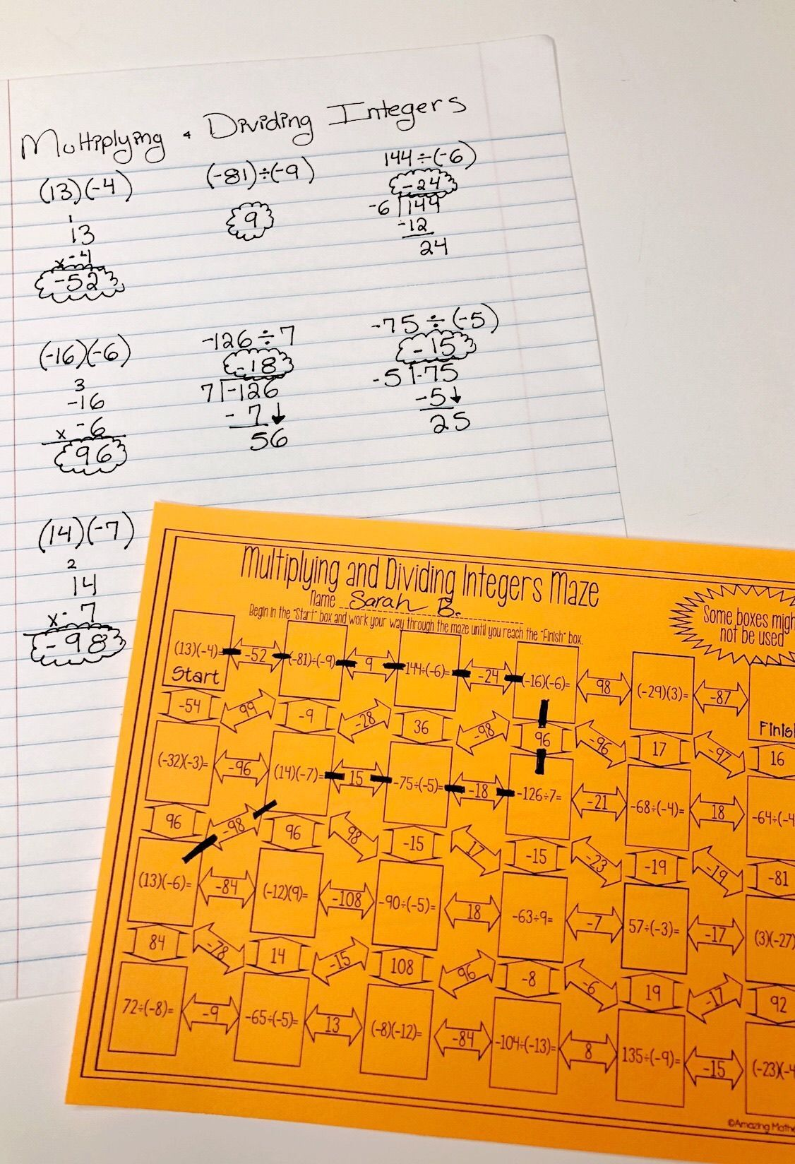 Multiplying Amp Dividing Integers Maze