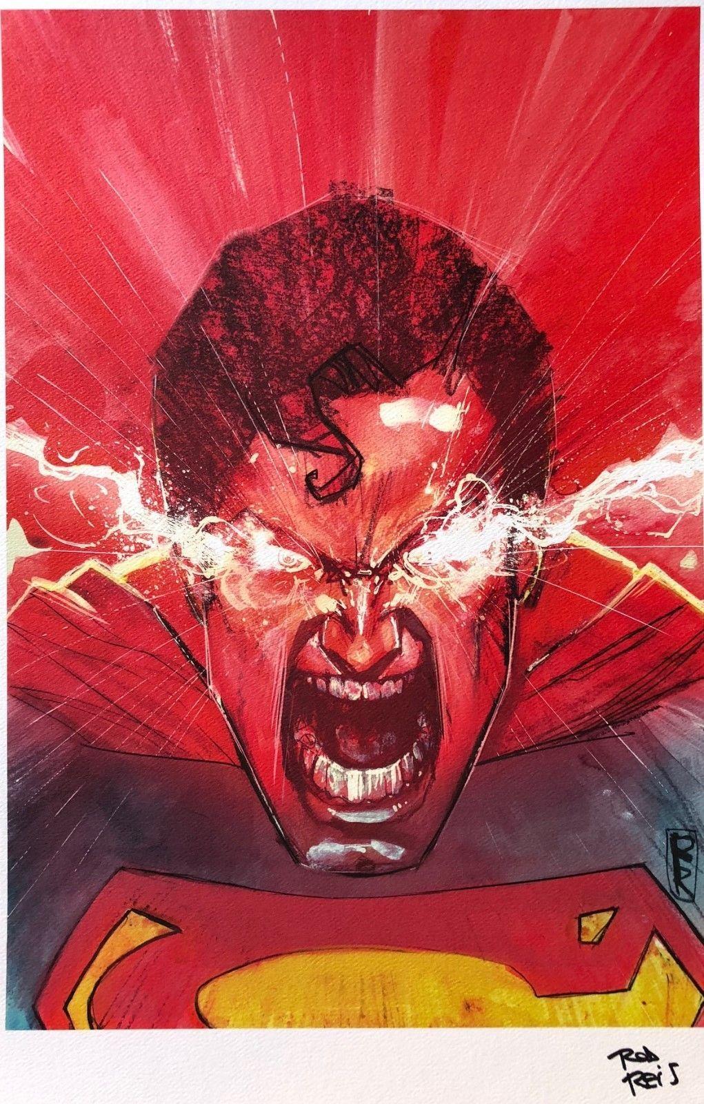 Rod Reis Rare Superman Print Signed Limited Dc Art New Last One Ebay Superhero Art Art Dc Comics Characters