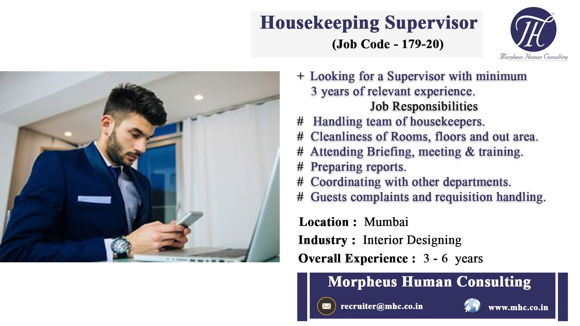 We are looking for an experienced candidate the position of housekeeping supervisor our client also pin by morpheus consulting on job postings pinterest posting rh