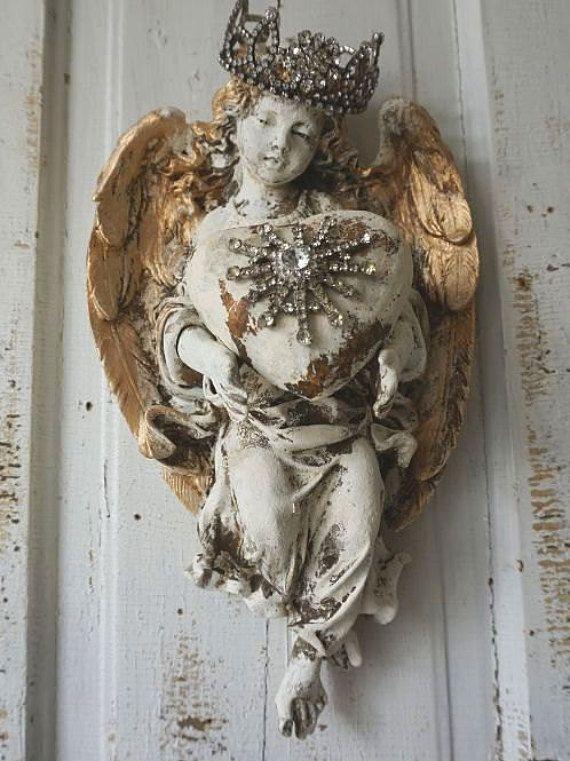 Angel statue wall hanging w/ handmade heart by AnitaSperoDesign