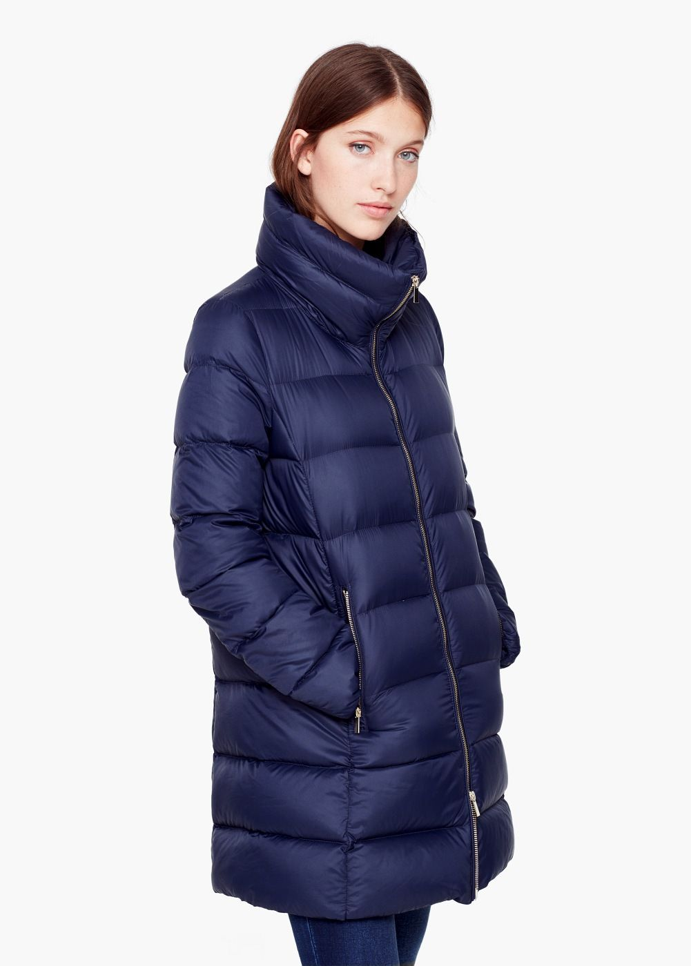 Quilted feather coat - Coats for Women | MANGO