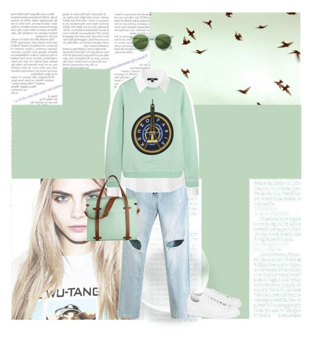 What ever happened by annsharif on Polyvore featuring Kenzo, Uniqlo, adidas Originals, Wildfox, kenzo, mintgreen, CaraDelevingne and WuTangClan