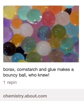 DIY Bouncy Ball borax, cornstarch, glue, and optional food coloring= a bouncy ball!