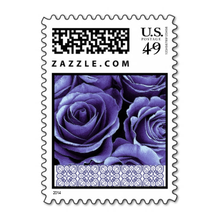 Purple Roses Small Wedding Stamp Lace Accent