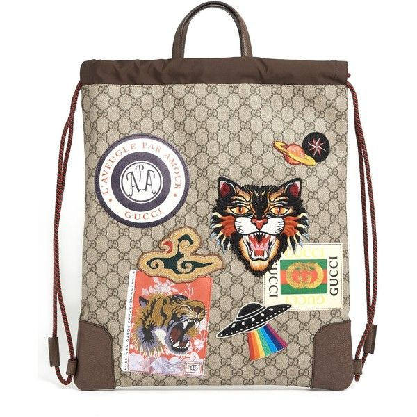 bb5188f1e61 GUCCI  Drawstring  Backpack With Gg Print With Patch (3.850 BRL) ❤ liked on  Polyvore featuring men s fashion