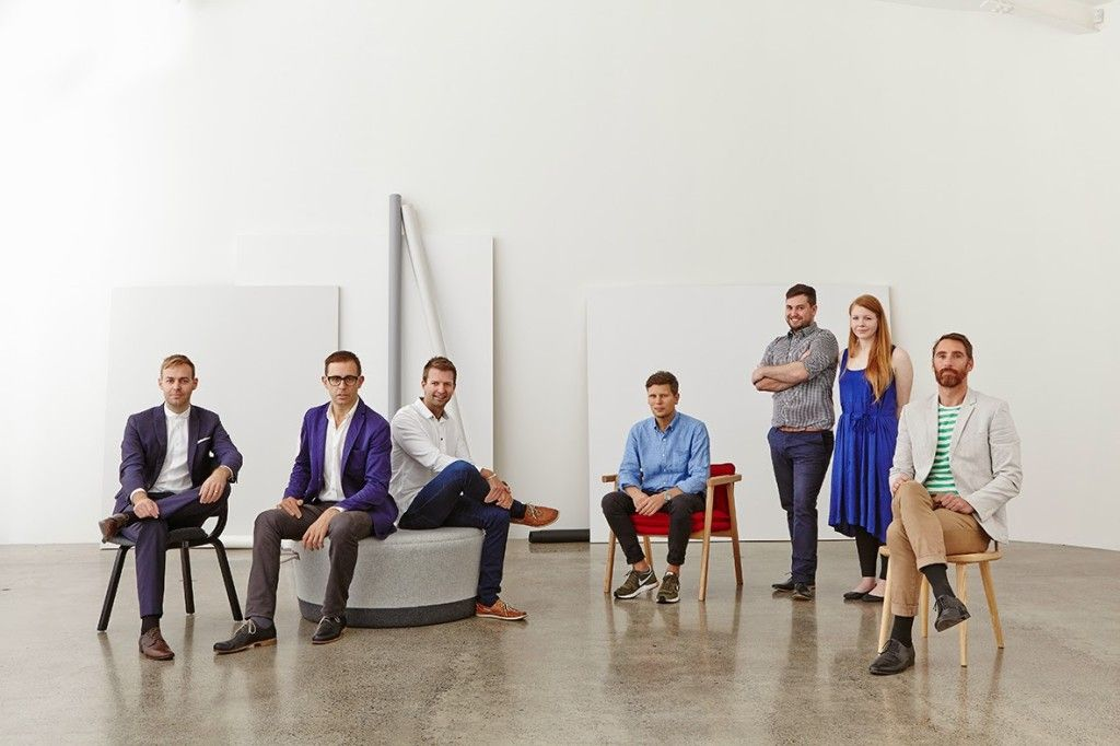 From left: Nat Cheshire of Cheshire Architects; Nathan Goldsworthy of Goldsworthy; Tim Webber of Tim Webber Design; Simon James of Resident; Nigel Groom and Emma Fox-Derwin of Well-Groomed Fox; and Timothy John of Timothy John Design. Photographed by Toaki Okano at Auckland's White Studios on May 7. HOME magazine 2014 Design Awards winner and finalists. Photograph by Toaki Okano.