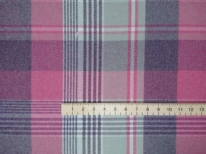 Lovely Pink Grey Chenille Plaid Upholstery Fabric With Ruler