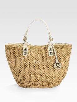 651a7a7f4d00fd Michael Kors straw bag | Style and Fashion | Bags, Fashion, Beach ...