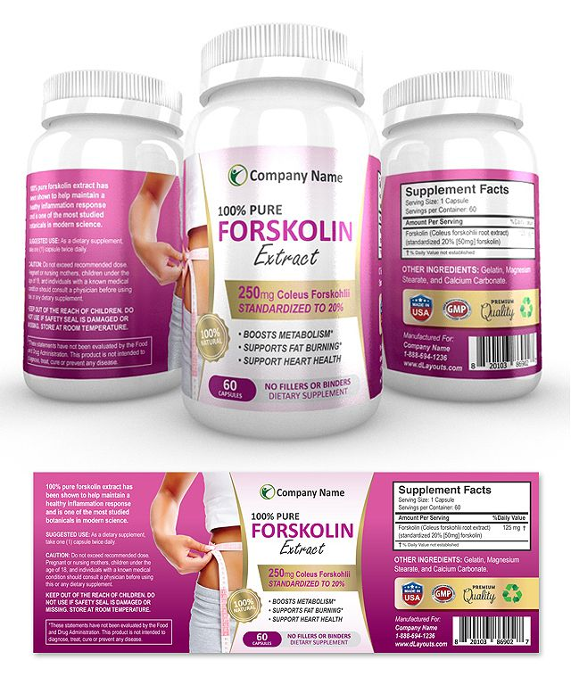 Forskolin Extract Supplement Label Template  Pack Brilliance
