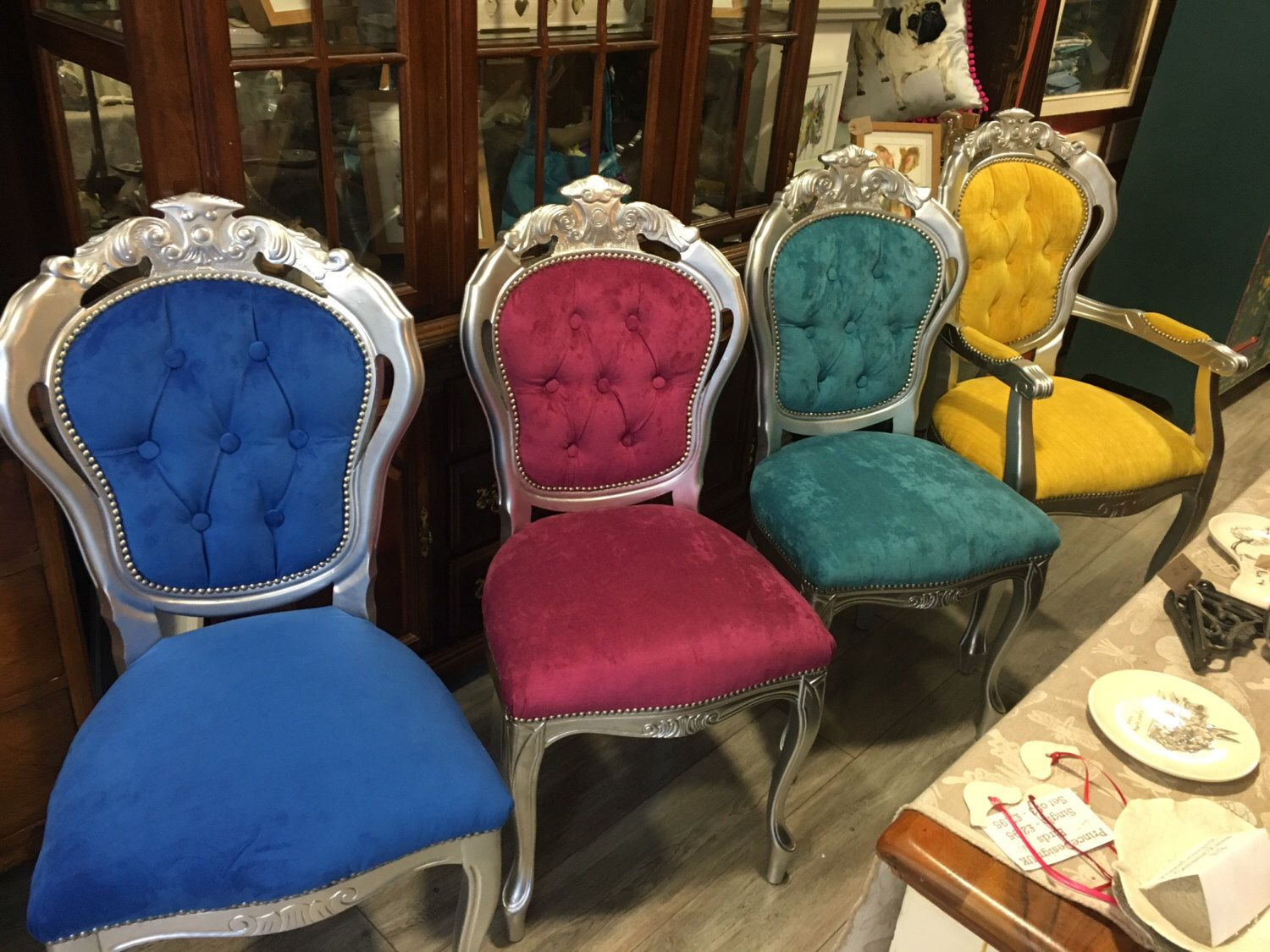 Rococo Dining Chairs, Coloured Velvet With Silver, Velvet Seats, Painted,  Made To Order