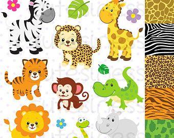 Jungle Animal Clipart Baby Animals Clipart Safari por Cutesiness ...