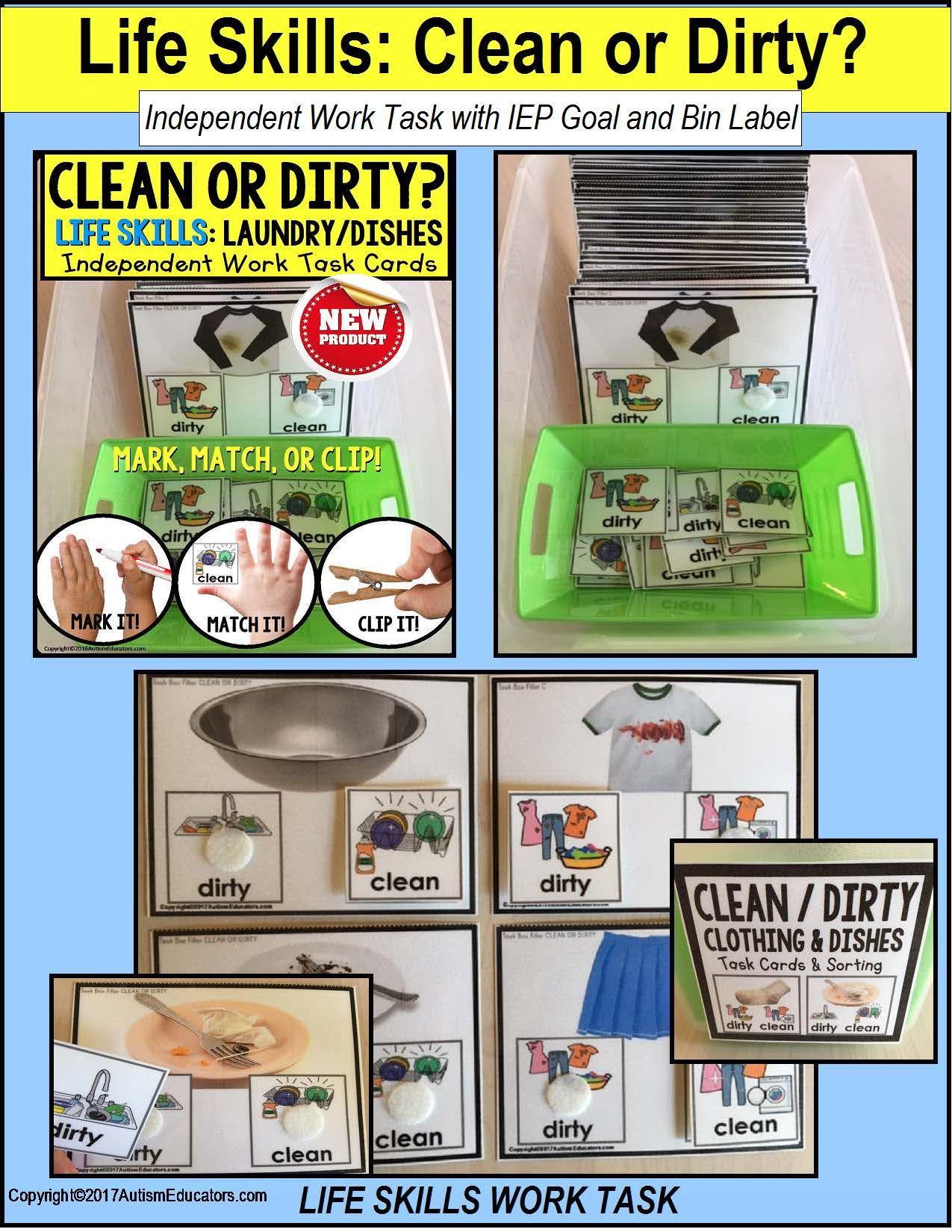 Life Skills Task Cards Laundry And Dishes Clean Or Dirty