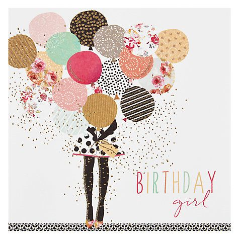 Buy Portfolio Balloon Girl Birthday Card Online At Johnlewis