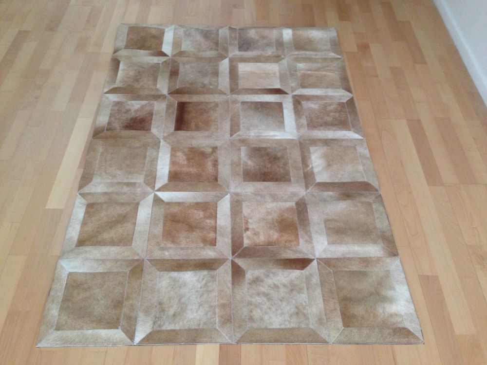 Made in Argentina. NEW Cowhide Rug Patchwork Cowskin Cow Hide Leather Carpet