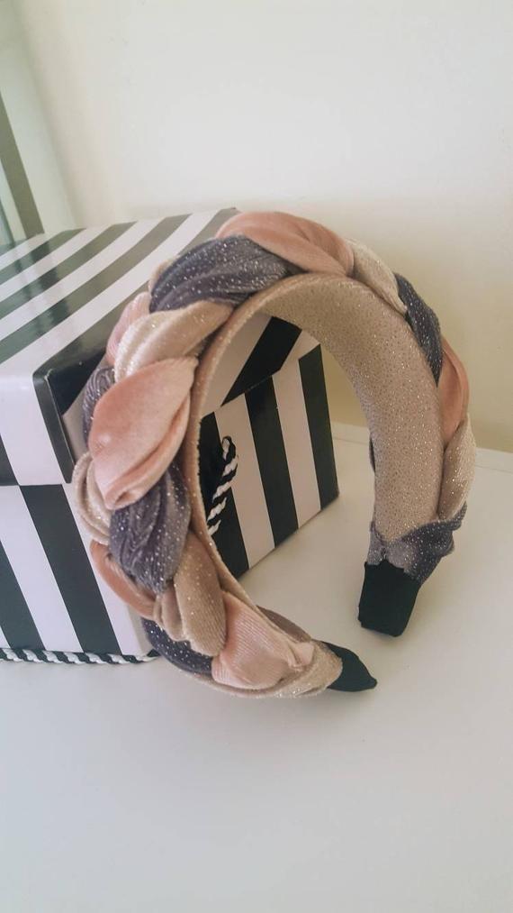Braided headband, Fascinator headband, Pink headband, Wedding party, Fashion headband, crown headband, Padded headband, Kate middleton style