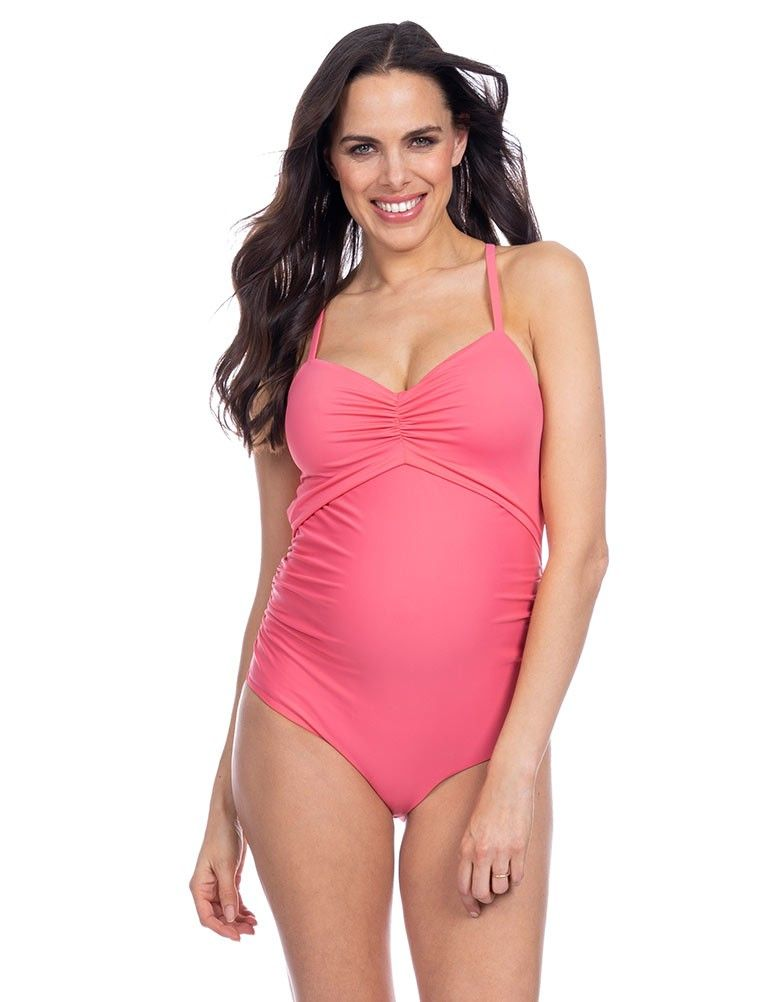 Coral Cutout Maternity Swimsuit Maternity Swimsuit Stylish Maternity Outfits Maternity Swimwear