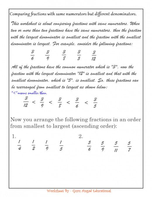 comparing fractions with like numerators worksheet - kutshet.com