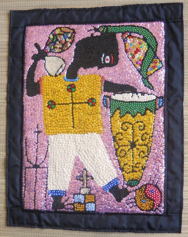 """HAITIAN TI-JEAN PETRO VOODOO OR VODOU FLAG 21"""" HIGH BY 17"""" WIDE BY MAXON 