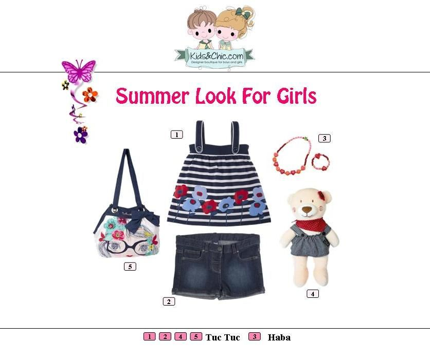 #Summer #look for #girls from  #TucTuc and #Haba.  Check at www.kidsandchic.com/girl    #girlsclothing #girlsfashion #kidsfashion #trendychildren #kidsclothing #shoppingbarcelona #tops #shorts #denimshorts #denim #yewerly #bags #toys #bear