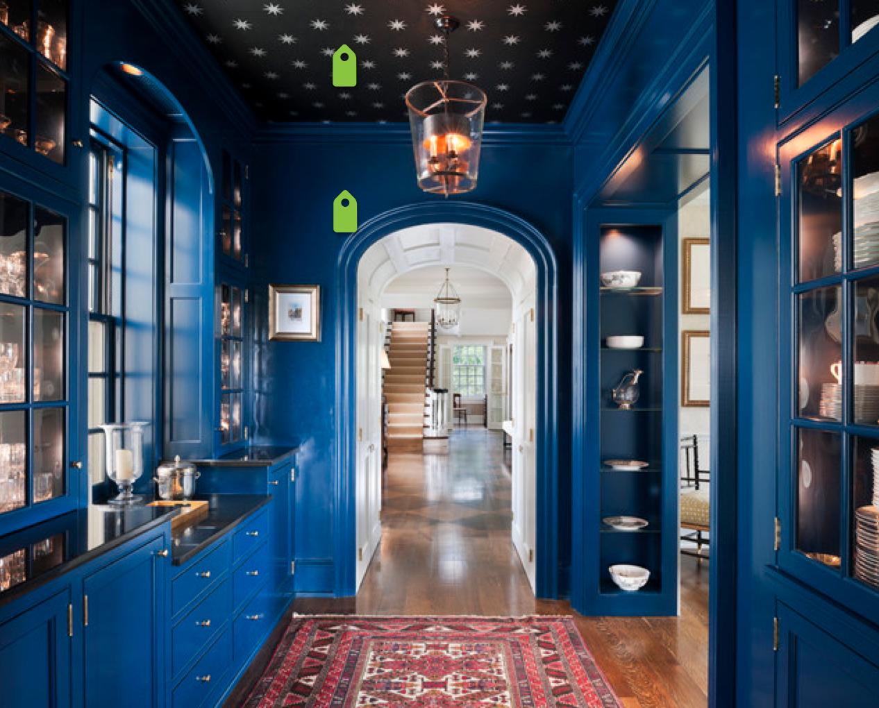 Sleek cobalt blue. Draws you in.